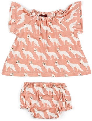 Milkbarn Girls' Casual Dresses - Pink Fox Organic Cotton Angel-Sleeve Dress & Diaper Cover - Infant