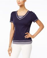 Karen Scott Cotton Striped Layered-Look Active Top, Only at Macy's