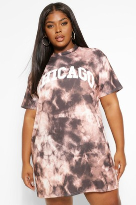 boohoo Plus Tie Dye Chicago T-Shirt Dress