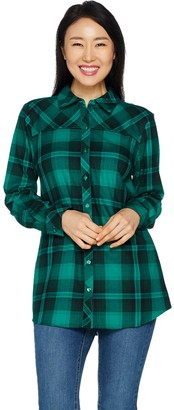 Denim & Co. Plaid Long Sleeve Button Front Collared Shirt