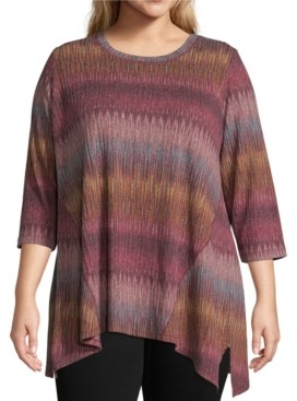 John Paul Richard Plus Asymmetric Hem Knit Top
