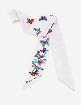 Bvlgari B Fly Shelley silk scarf 120cm x 5cm