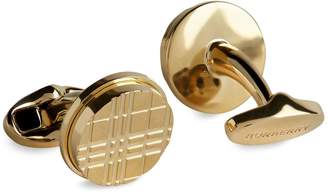 Burberry Gold-Plated Check Cufflinks