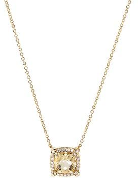 David Yurman 18K Yellow Gold Chatelaine Pave Bezel Citrine & Diamond Pendant Necklace