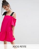 Asos Pep Hem Cotton Cold Shoulder Dress