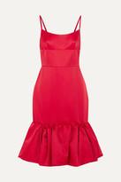 Prada Wool And Silk-blend Satin Peplum Dress