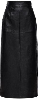 Miu Miu High Waist Leather Midi Skirt