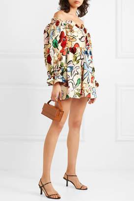Stine Goya Net Sustain Evelina Sequined Printed Hemp And Silk-blend Satin Mini Dress - Ecru