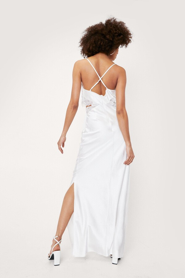 Thumbnail for your product : Nasty Gal Womens Bridal Lace Insert Cowl Neck Maxi Dress - White - 10