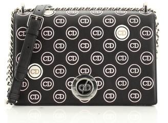 Christian Dior Diorama Clasp Flap Bag Embroidered Leather Medium