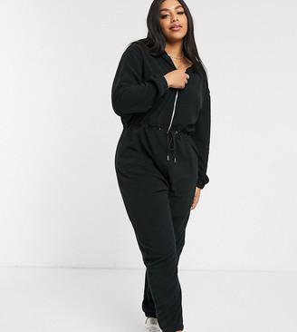Micha Lounge Curve long sleeve jumpsuit with hood-Black