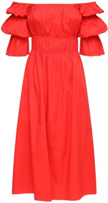 Cult Gaia Stella Ruffled Stretch Cotton Midi Dress