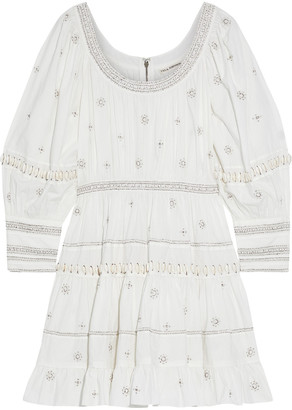 Ulla Johnson Bead-embellished Cotton-poplin Mini Dress