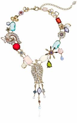 Badgley Mischka Women's Multi Flower & Fringe Gold Ribbon Necklace One Size
