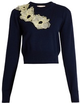 Roksanda Nobuya floral-appliqué wool-knit cropped sweater