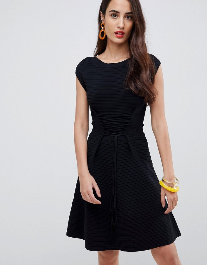 French Connection Kai Knitted Skater Dress with Lacing-Black