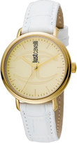 Just Cavalli 34mm CFC Stainless Steel Watch w/ Leather Strap, White