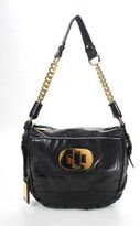 Badgley Mischka Black Leather Gold Chain Strap Small Shoulder Handbag