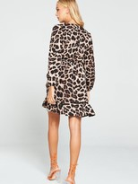 AX Paris Leopard Print Wrap Dress - Brown