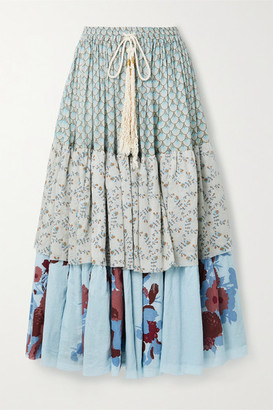 Yvonne S Tiered Floral-print Cotton-voile Midi Skirt - Blue