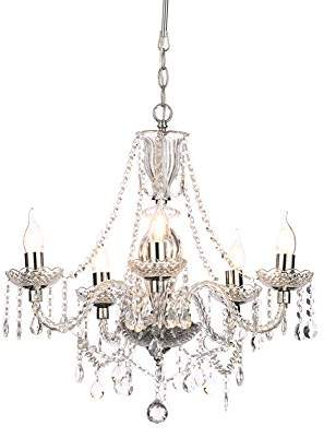 clear Illuminate Bago Vintage 5-Light Chandelier With Glass Centre Body And Glistening Droppers,