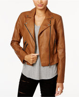 Coffeeshop Juniors' Faux-Leather Buckled Moto Jacket
