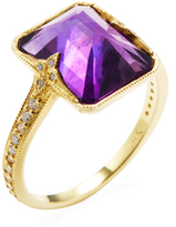 Ila Dani 14K Yellow Gold, Amethyst & 0.18 Total Ct. Diamond Ring
