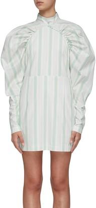 Rotate by Birger Christensen Kim puff shoulder stripe dress