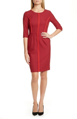 HUGO Kurena Contrast Piping Sheath Dress