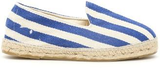 Manebi PORTOFINO STRIPED ESPADRILLES 39 White, Blue Cotton