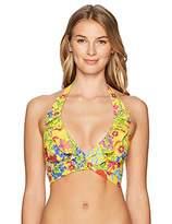Bleu Rod Beattie Women's Ruffle Double Wrap Halter Bikini Top