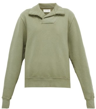 LES TIEN Yacht Open-collar Cotton-jersey Sweatshirt - Light Green
