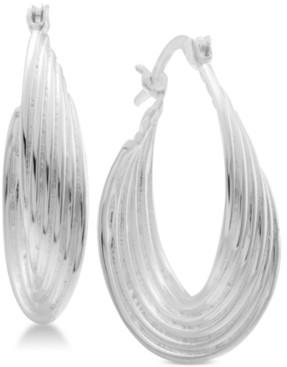 Essentials Multi-Layer Twisted Oval Medium Hoop in Fine Silver Plate Earrings