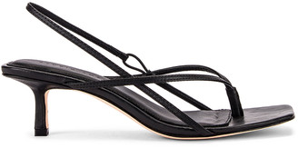 Studio Amelia 2.6 Flip Flop Heel in Black Nappa Leather | FWRD