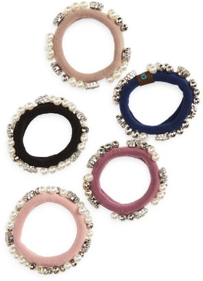 Tasha 5-Pack Assorted Jeweled Ponytail Holders