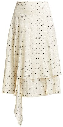 Monse Dotted Tear-Away Tiered Midi Skirt