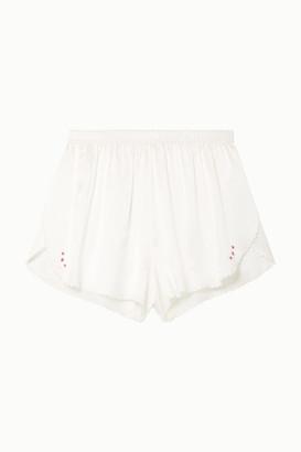 Morgan Lane Rosie Scalloped Embroidered Silk-charmeuse Pajama Shorts