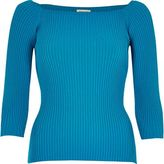 River Island Womens Blue ribbed open neck top