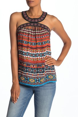 Laundry by Shelli Segal Embroidered Trim Printed Halter Top