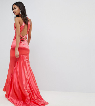 Jarlo Tall High Neck Fishtail Maxi Dress With Strappy Open Back Detail-Red