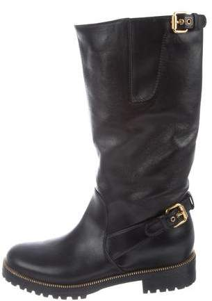 Sergio Rossi Leather Moto Booties