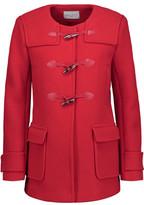 Sandro Pekin Leather-Trimmed Wool-Blend Coat