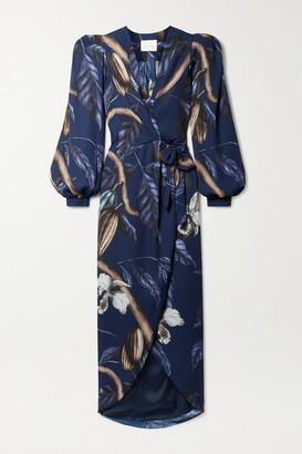 Johanna Ortiz Net Sustain Reino Vegetal Printed Recycled Satin Wrap Midi Dress - Navy