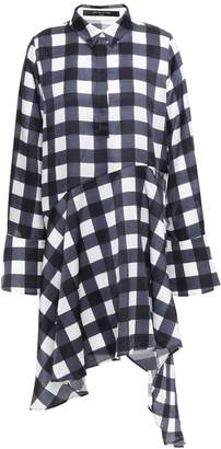 Mother of Pearl April Asymmetric Checked Satin Mini Shirt Dress