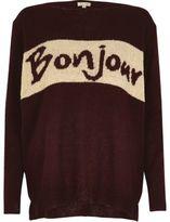 River Island Womens Burgundy knit 'Bonjour' jumper