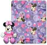 "Minnie Mouse, Perfume Pretty Printed Fleece Throw with Hugger, 40"" x 50"""