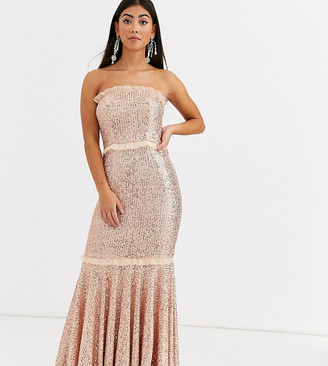 Jarlo Petite bandeau sequin gown in gold