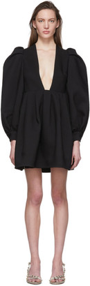 Valentino Black Wool and Silk Balloon Sleeve Short Dress