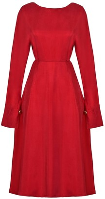 Sarvin Shay Red Hand-Crafted Long Sleeve Backless Midi Dress