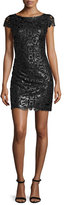 Alice + Olivia Penni Faux-Leather Lace Dress, Black